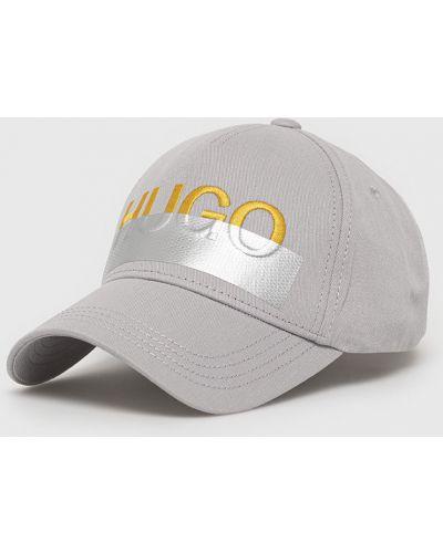 Szary kapelusz bawełniany Hugo