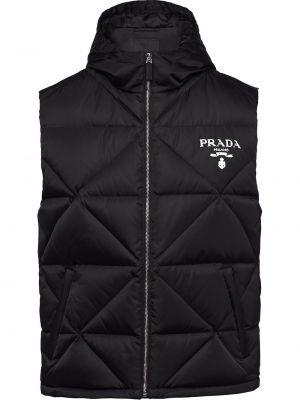 Czarna kamizelka z printem Prada