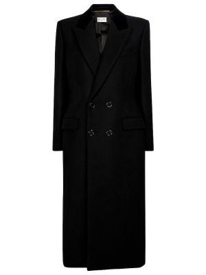 Черное шерстяное пальто Saint Laurent