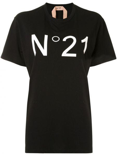 Черная футболка оверсайз с вырезом N°21