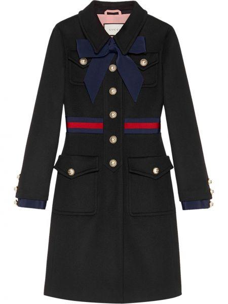 Klasyczny płaszcz wełniany z kieszeniami Gucci