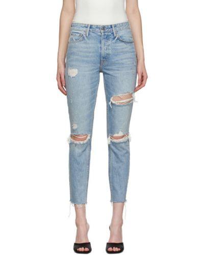 Зауженные джинсы-скинни стрейч с манжетами с заплатками Grlfrnd