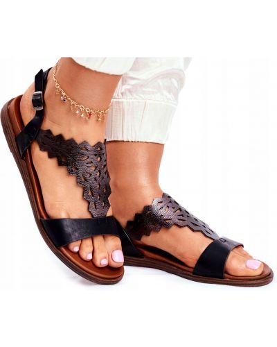Sandały skórzane - czarne Sergio Leone