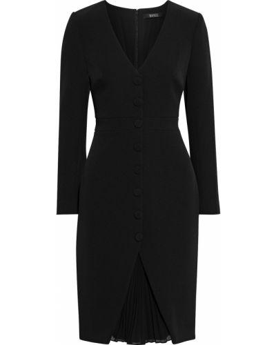 Плиссированное черное платье на пуговицах Badgley Mischka