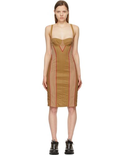 Хлопковое платье - бежевое Burberry