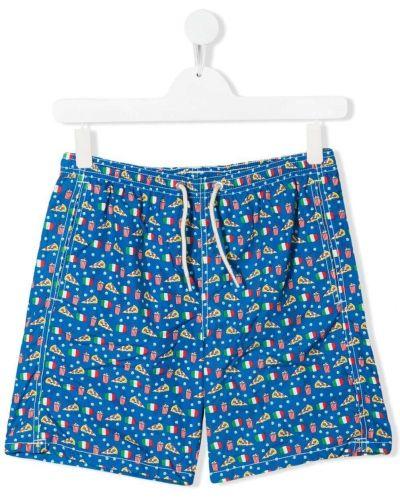 Синие пляжные плавки-боксеры с карманами Mc2 Saint Barth Kids