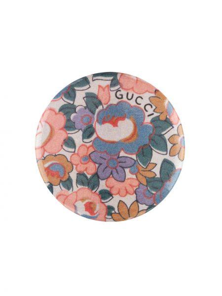 Różowa broszka z printem w kwiaty Gucci
