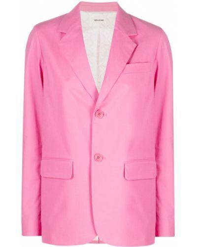 Однобортный розовый удлиненный пиджак с карманами Zadig&voltaire