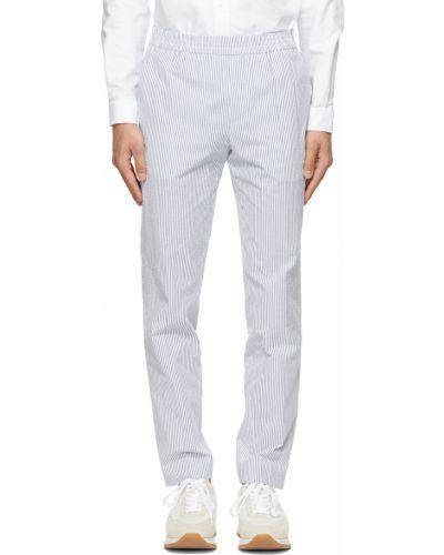 Białe spodnie w paski bawełniane Harmony