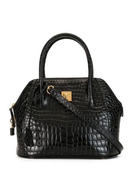 Черная сумка-тоут круглая на молнии с карманами Versace Pre-owned