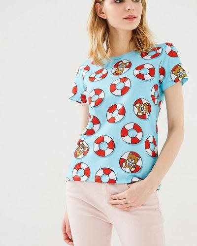 Голубая футболка Moschino