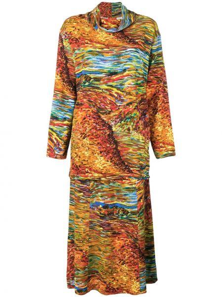 Коричневый вязаный юбочный костюм винтажный из вискозы Kenzo Pre-owned