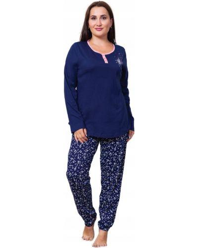 Niebieska piżama bawełniana z długimi rękawami Vienetta