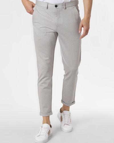 Szare spodnie eleganckie w paski Lindbergh
