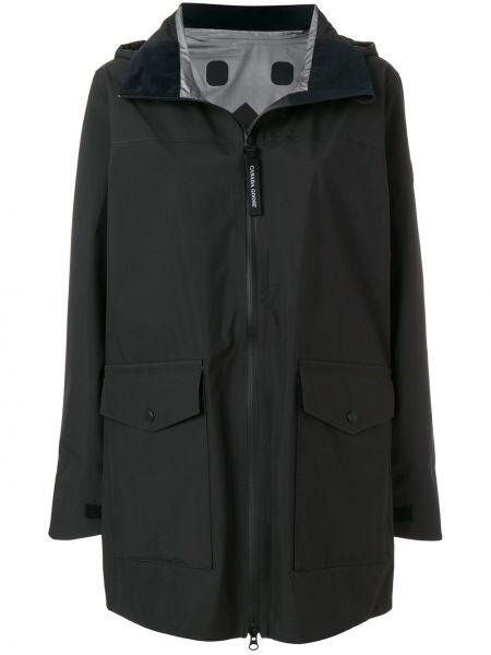 Нейлоновый черный длинное пальто Canada Goose