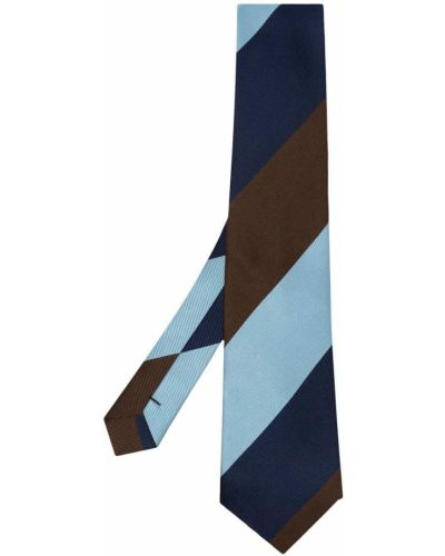 Brązowy krawat w paski z jedwabiu Comme Des Garcons Homme Deux