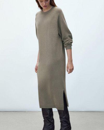 Зимнее платье хаки Massimo Dutti