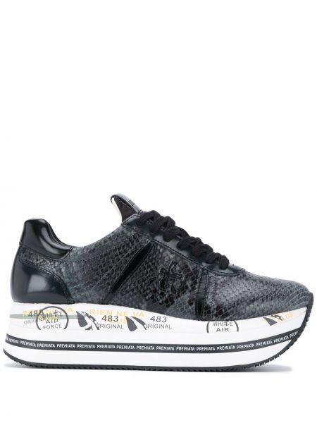 Черные кроссовки на платформе с нашивками на шнуровке из искусственной кожи Premiata