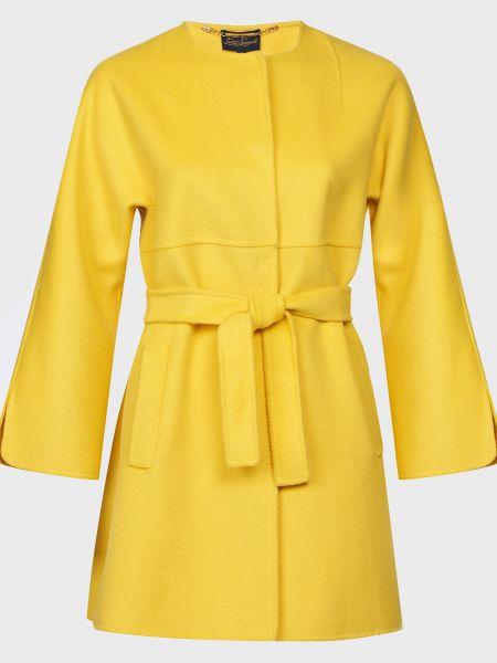Желтое шерстяное пальто с капюшоном Luisa Spagnoli