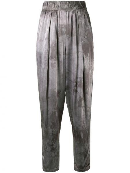Серебряные зауженные зауженные брюки с заниженным шаговым швом с поясом Raquel Allegra