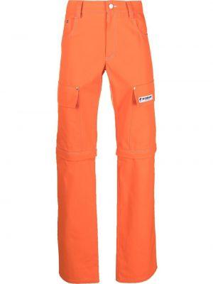 Pomarańczowe spodnie z paskiem bawełniane Misbhv