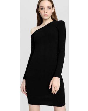 Черное асимметричное платье миди в рубчик узкого кроя Ostin