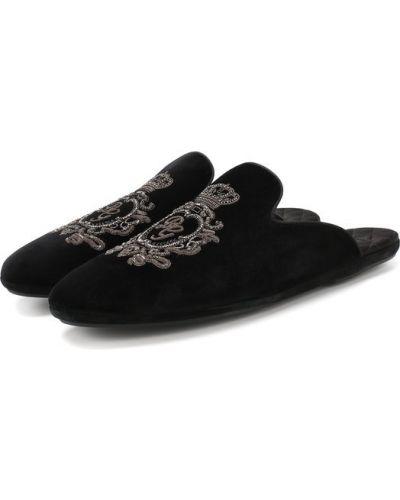 Черные туфли с вышивкой Dolce & Gabbana