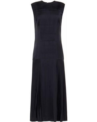 Niebieska satynowa sukienka midi rozkloszowana Cedric Charlier