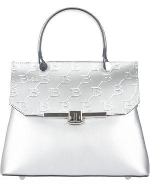 Кожаная сумка - серебряная Sara Burglar