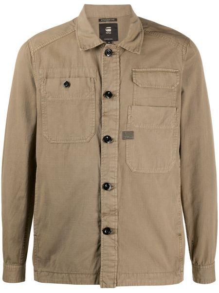 Коричневая деловая рубашка с карманами с манжетами G-star Raw
