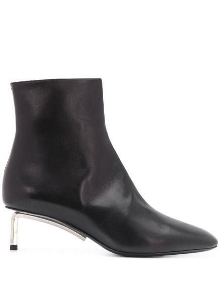 Czarny buty na pięcie z prawdziwej skóry na pięcie kwadratowy Off-white