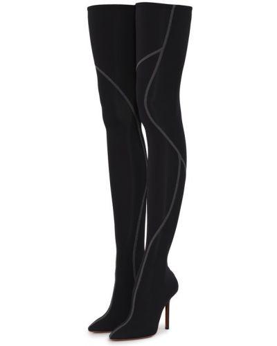 Сапоги на шпильке черные кожаные Vetements