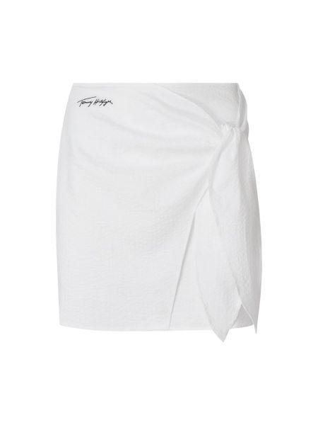 Biała spódnica rozkloszowana bawełniana Tommy Hilfiger