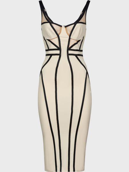 Бежевое платье на молнии Elisabetta Franchi