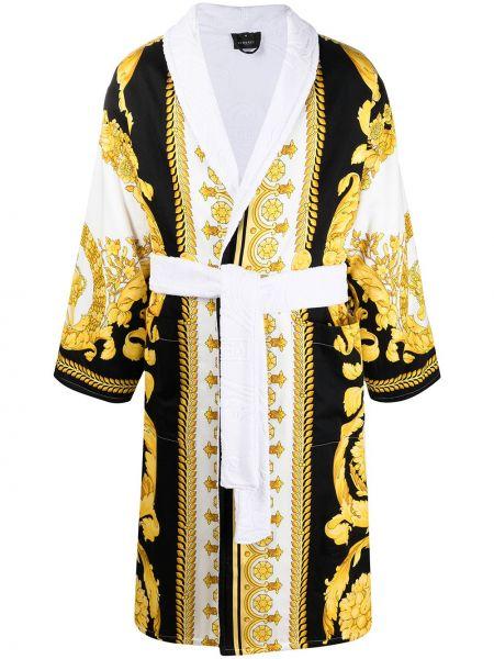 Czarny bawełna bawełna szlafrok z długimi rękawami Versace Home