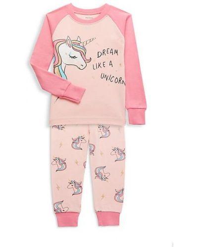 Różowa piżama bawełniana z długimi rękawami Petit Lem