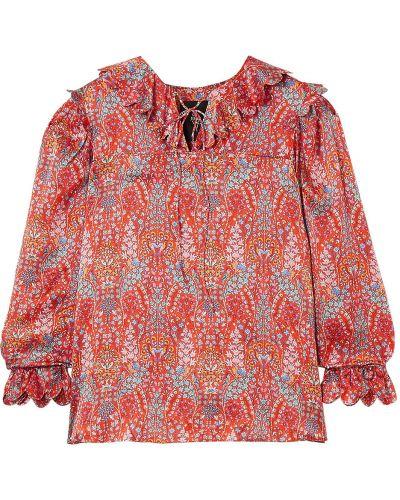 Satynowa bluzka koronkowa sznurowana Horror Vacui