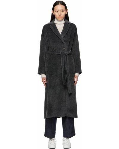 Czarny długi płaszcz z paskiem S Max Mara