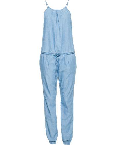 Облегающий синий джинсовый комбинезон на бретелях Bonprix
