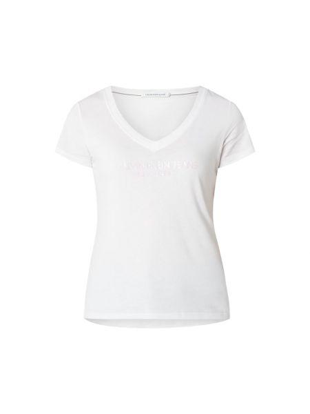 Migocący bawełna biały koszula jeansowa z dekoltem Calvin Klein Jeans