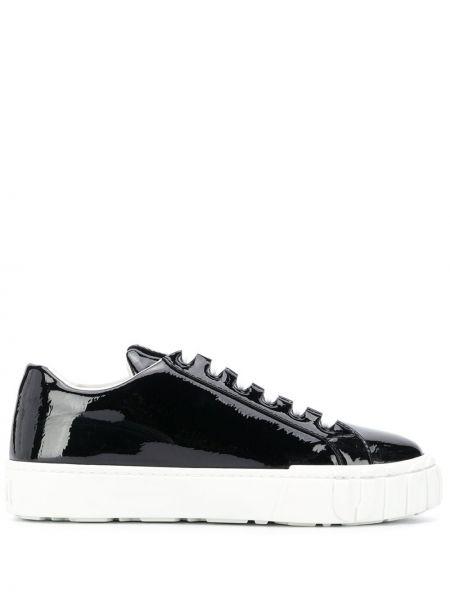 Koronkowa czarny wysoki sneakersy na sznurowadłach z prawdziwej skóry Miu Miu