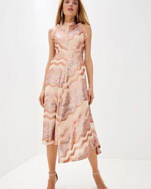 Вечернее платье розовое осеннее Three Floor