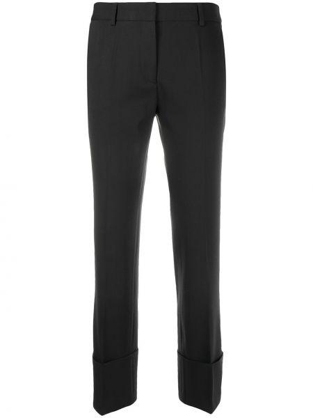 Шерстяные расклешенные черные брюки на молнии Alberto Biani