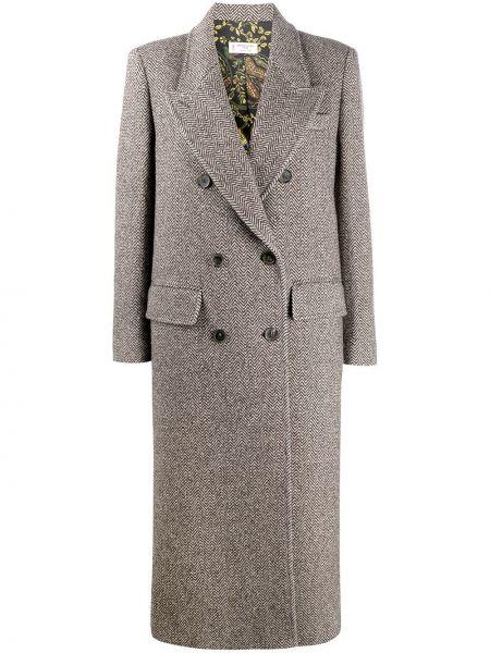Серое шерстяное длинное пальто двубортное Alberto Biani