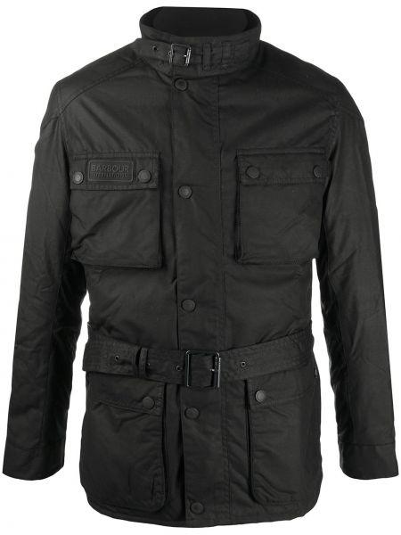 С рукавами черная куртка на молнии Barbour