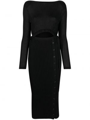 Вязаное черное платье макси с длинными рукавами Self-portrait
