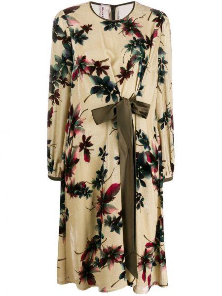 Sukienka długa z długimi rękawami z jedwabiu w kwiaty Antonio Marras