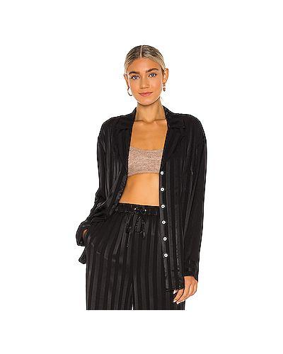 Черный пижамный топ из вискозы L'academie