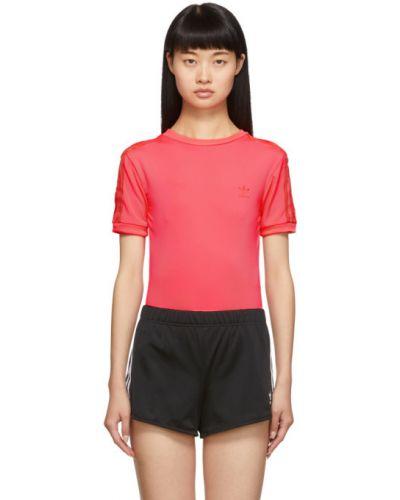 Розовое с рукавами боди с воротником Adidas Originals