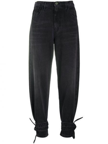 Хлопковые зауженные черные джинсы-скинни с завязками Pinko